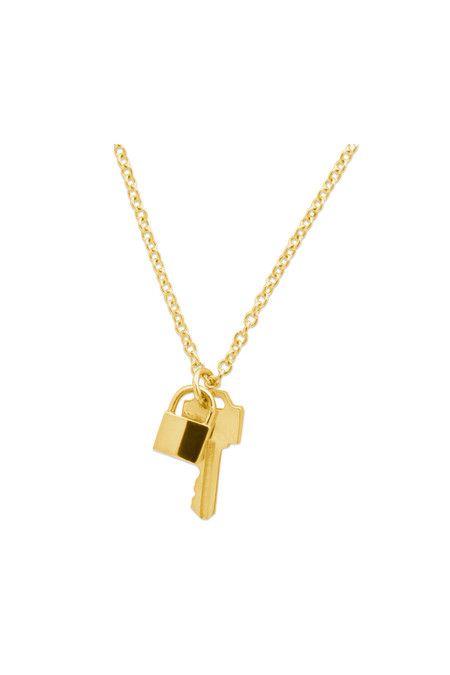 Lauren Klassen Tiny Lock and Key Necklace - Yellow Gold