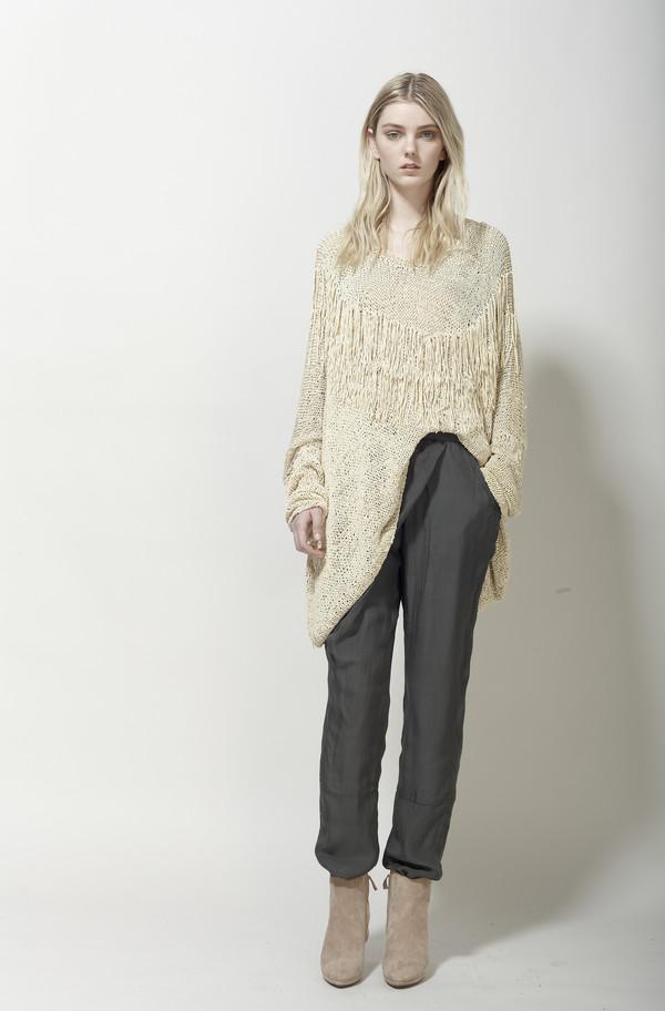 Laura Siegel Handknit Fringe Suede Sweater