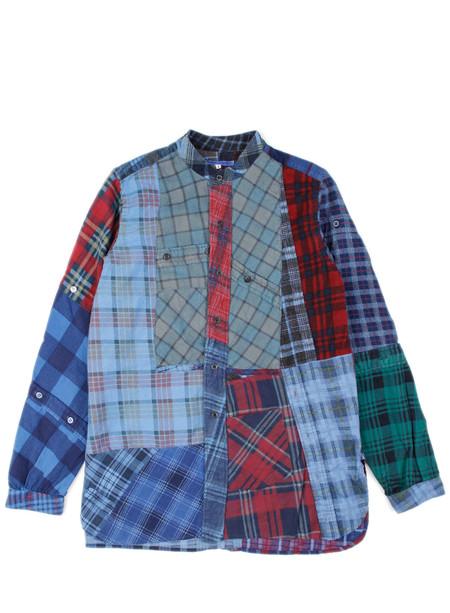 Men's Rebuild by Needles Flannel Shirt Banded Collar Indigo Dye