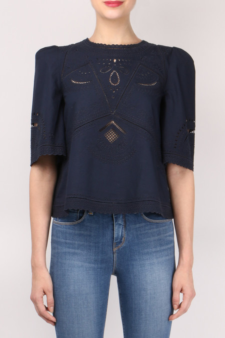 Derek Lam 10 Crosby S/S Embroidered Top