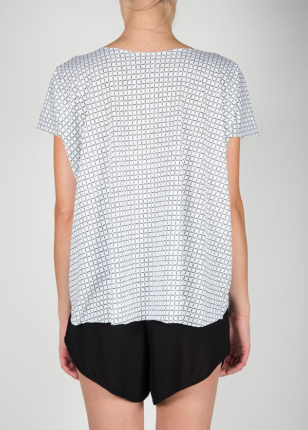 Ilana Kohn - Jersey Tee in White Grid