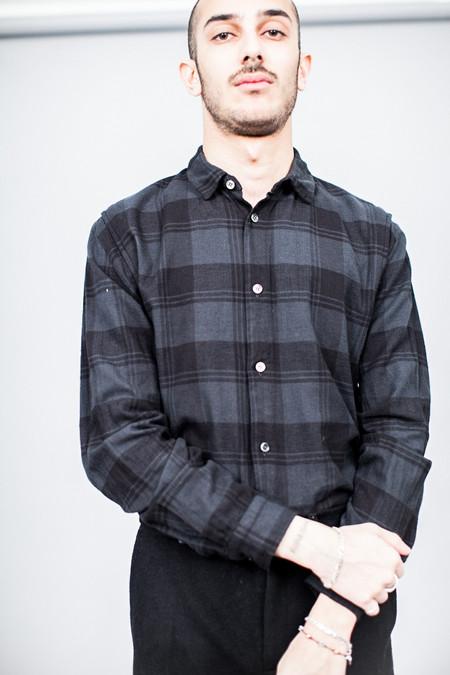 Robert Geller Plaid Dress Shirt Charcoal