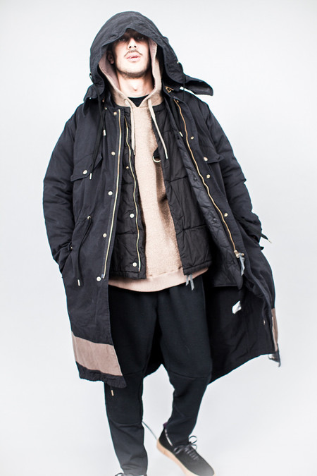 Robert Geller Vincent Hooded Parka Black/Charcoal