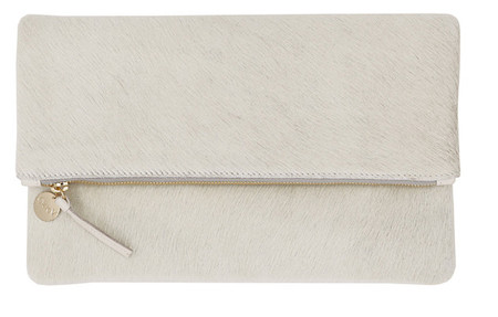 Clare V. Cream Calf Hair Foldover Clutch