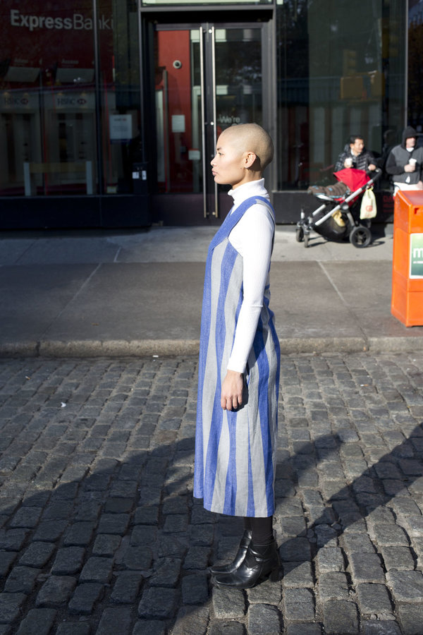 Carleen Pleat Shoulder Dress - Blue