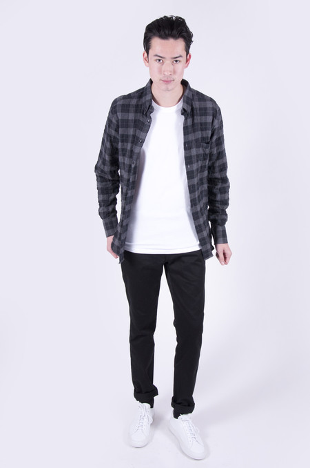 Naked & Famous Regular Shirt Soft Tartan Check Black/Grey