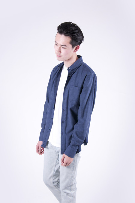 Naked & Famous Regular Shirt Soft Yarn Dyed Twill Blue