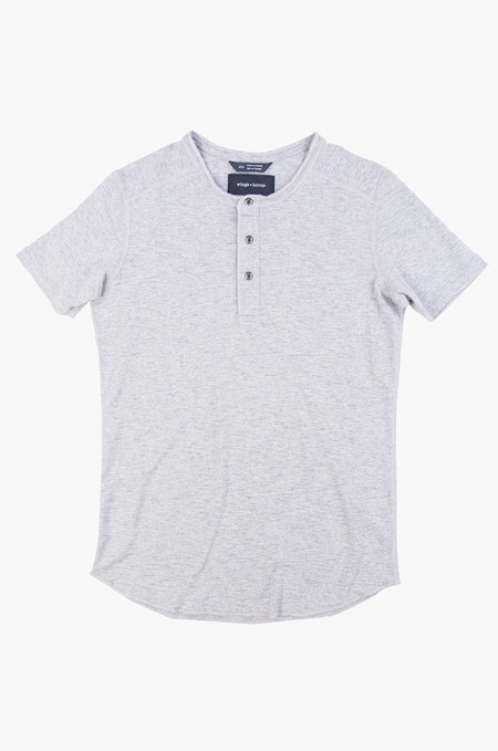 Wings + Horns Short-Sleeve Base Henley Heather Grey