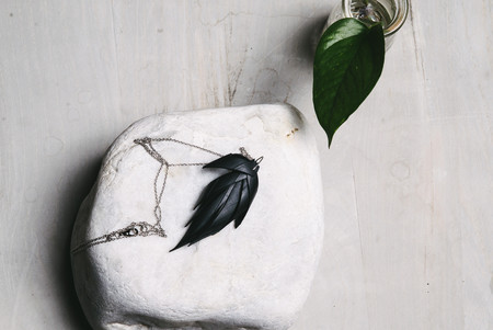 koan nyc upcycled fossdal feather necklace