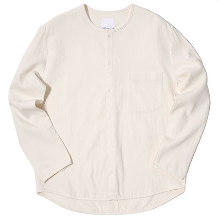 GARBSTORE BLEACHER DOUBLE JAPANESE WOVEN FABRIC BUTTON UP / NATURAL