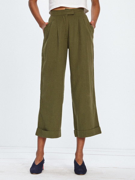 Ali Golden SILK NOIL ROLL CUFF PANT