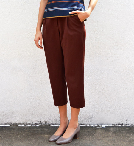 Steven Alan Burgundy Cropped Pleated Trouser