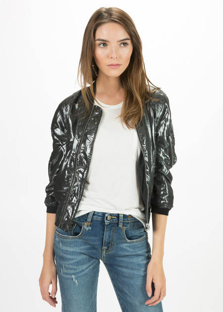R13 Women's Reversible Metallic Flight Jacket