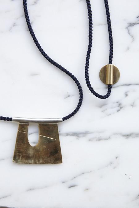 Leigh Miller Brass Indigo Silk Cord Pollock Necklace