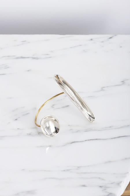Samma Focus Asymmetrical Cuff in Mixed White Bronze and Brass