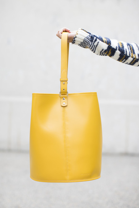 Creatures of Comfort Leather Bucket Bag in Yellow