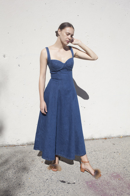 Creatures of Comfort Mali Dress in Denim Blue