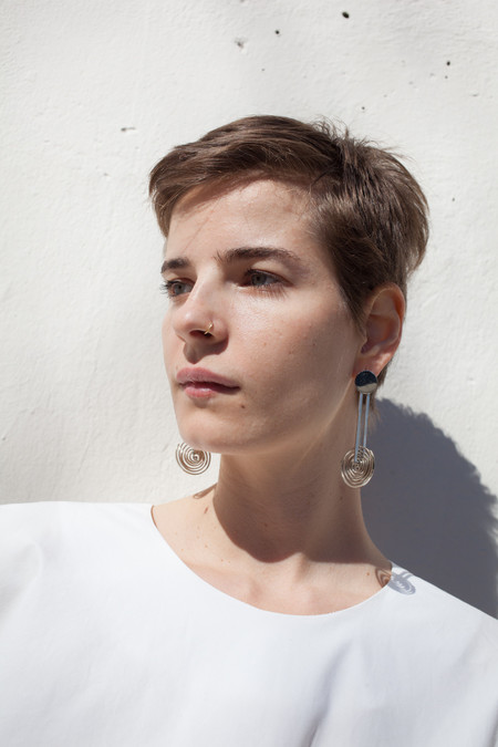 Samma Onda Circle Earring with Long Spiral Drop in White Bronze