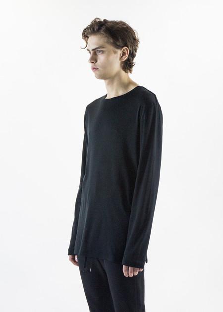 Helmut Lang Black LS Tee Brushed Jersey