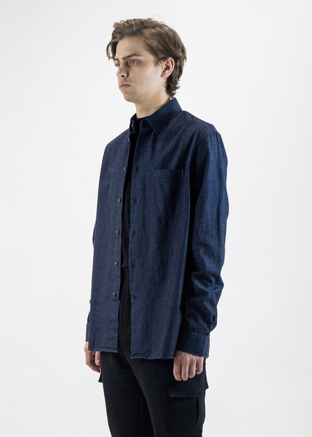 CMMN SWDN Lucas Black Overdye Indigo Shirt