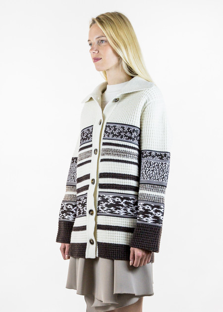 Carven Striped Knit Long Sleeve Cardigan