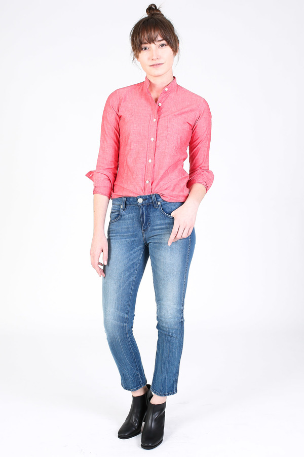 Vert & Vogue Banded collar shirt in brick