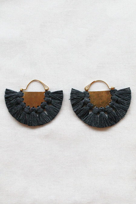 hazel cox lunar earrings in coal
