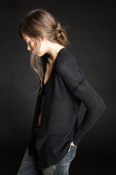 Paychi Guh Cashmere Open Cardigan Black