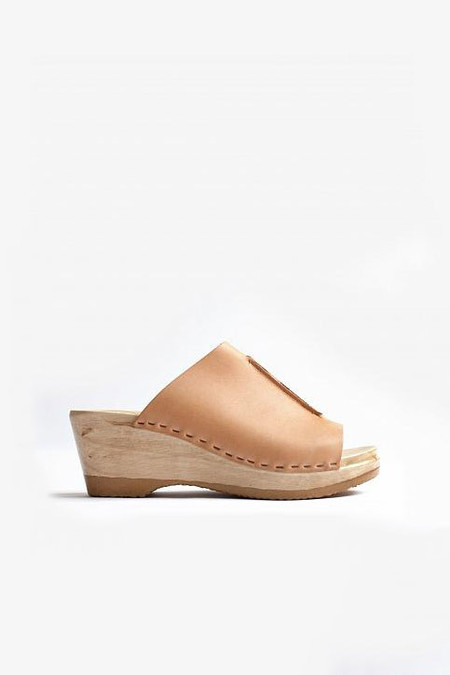No. 6 Store Clogs Front seam slide mid wedge in Naked