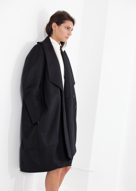 Gianfranco Scotti Shahmeena Cocoon Coat in Black