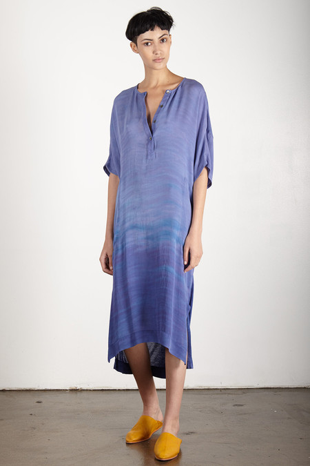 Raquel Allegra LAVENDER SILK AND JERSEY HENLEY COMBO DRESS