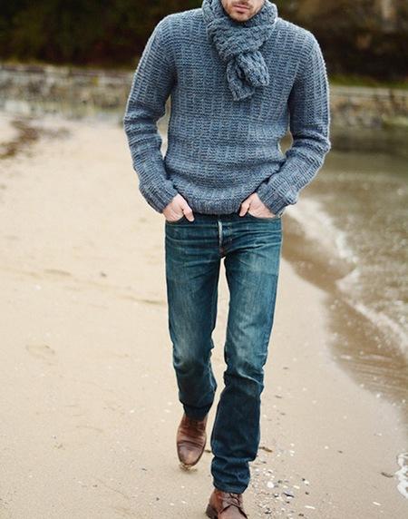 Men's Cécile Benac Three Button Au Nature Pullover Sweater