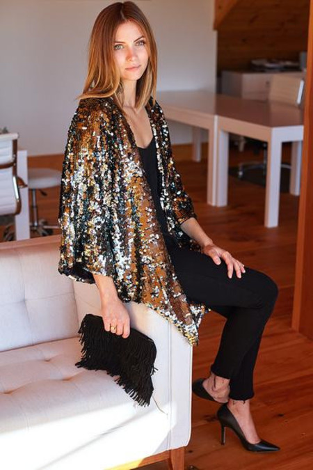 Emerson Fry Sequin Kimono in PEWTER