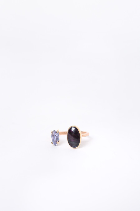 Melissa Joy Manning Limited Edition Double Stone Ring in Sugilite/Tanzanite/Gold