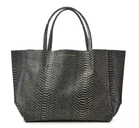 Ampersand as Apostrophe Vintage Snake Skin Embossed Black and White Sideways Tote