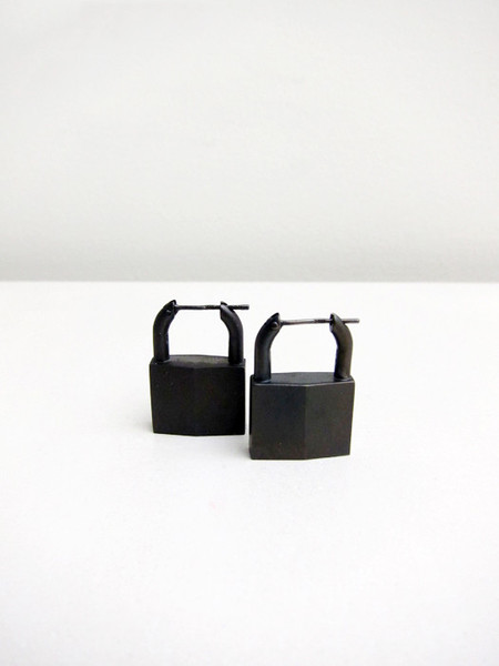Lauren Klassen Padlock Earrings, Black Rhodium