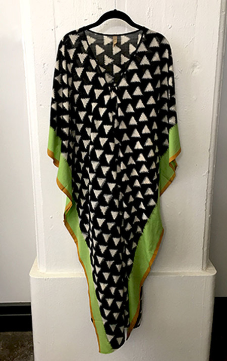 Two New York black ikat caftan with triangle motif