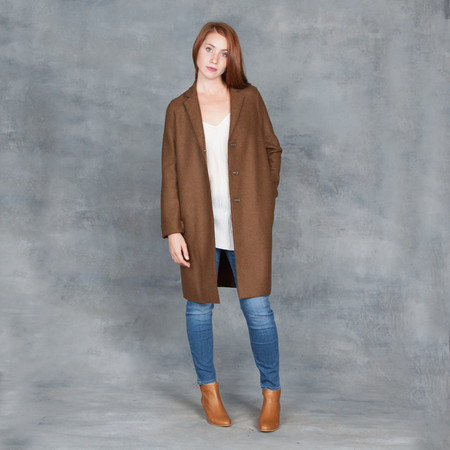Harris Wharf London Cocoon Coat Pressed Wool Biscuit
