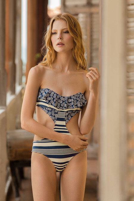Touche Printed Ruffle Bandeau One Piece