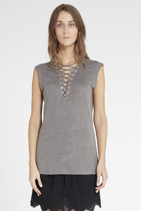 IRO TISSA TOP - STONE GREY