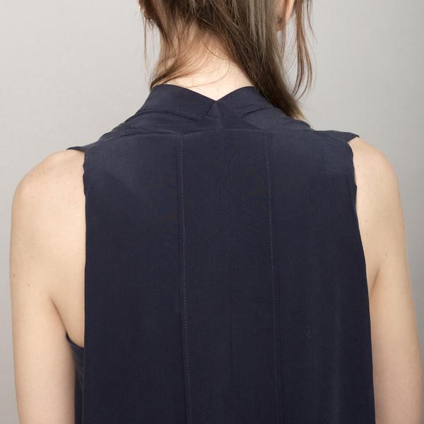 7115 by Szeki Signature Origami Silk Dress-Navy