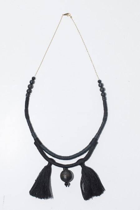 Ora-C Valeria Double Cords 2 Tassel Necklace - Black