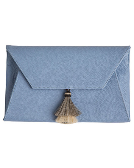 Oliveve cleo envelope clutch in ciel cow leather with horsehair tassel