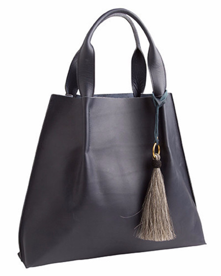 Oliveve maggie tote in navy saddle leather with horsehair tassel