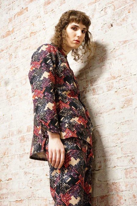 Unisex ZED linen/silk printed pull over shirt