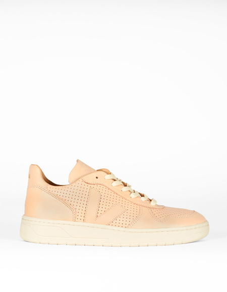 Men's Veja Bastille V-10 Leather Sneaker Nude