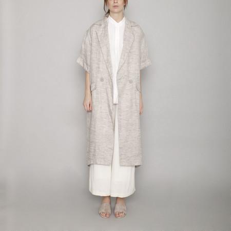 7115 by Szeki Short Sleeve Linen Long Coat - Beige - SS17