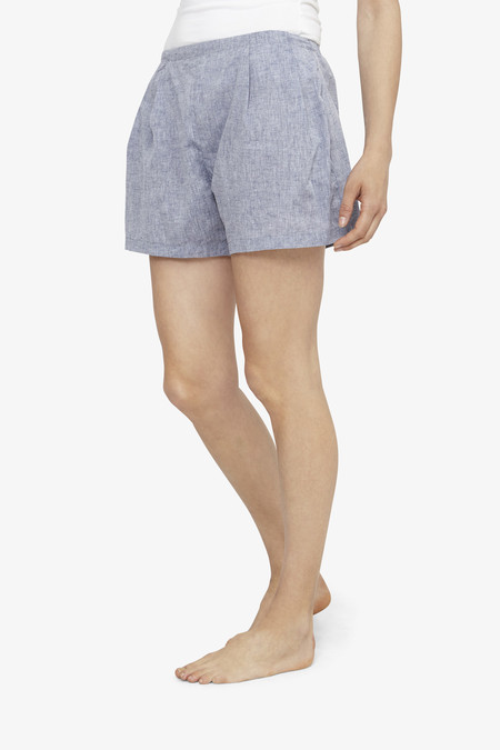 The Sleep Shirt Pleat Short Linen Chambray