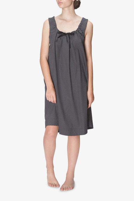 The Sleep Shirt Sleeveless Nightie Black Dot