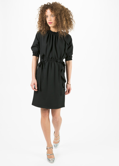 Amelia Toro Bias Ruffle Wool Dress